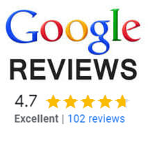 4.7 stars out of 5 from 102 google reviews